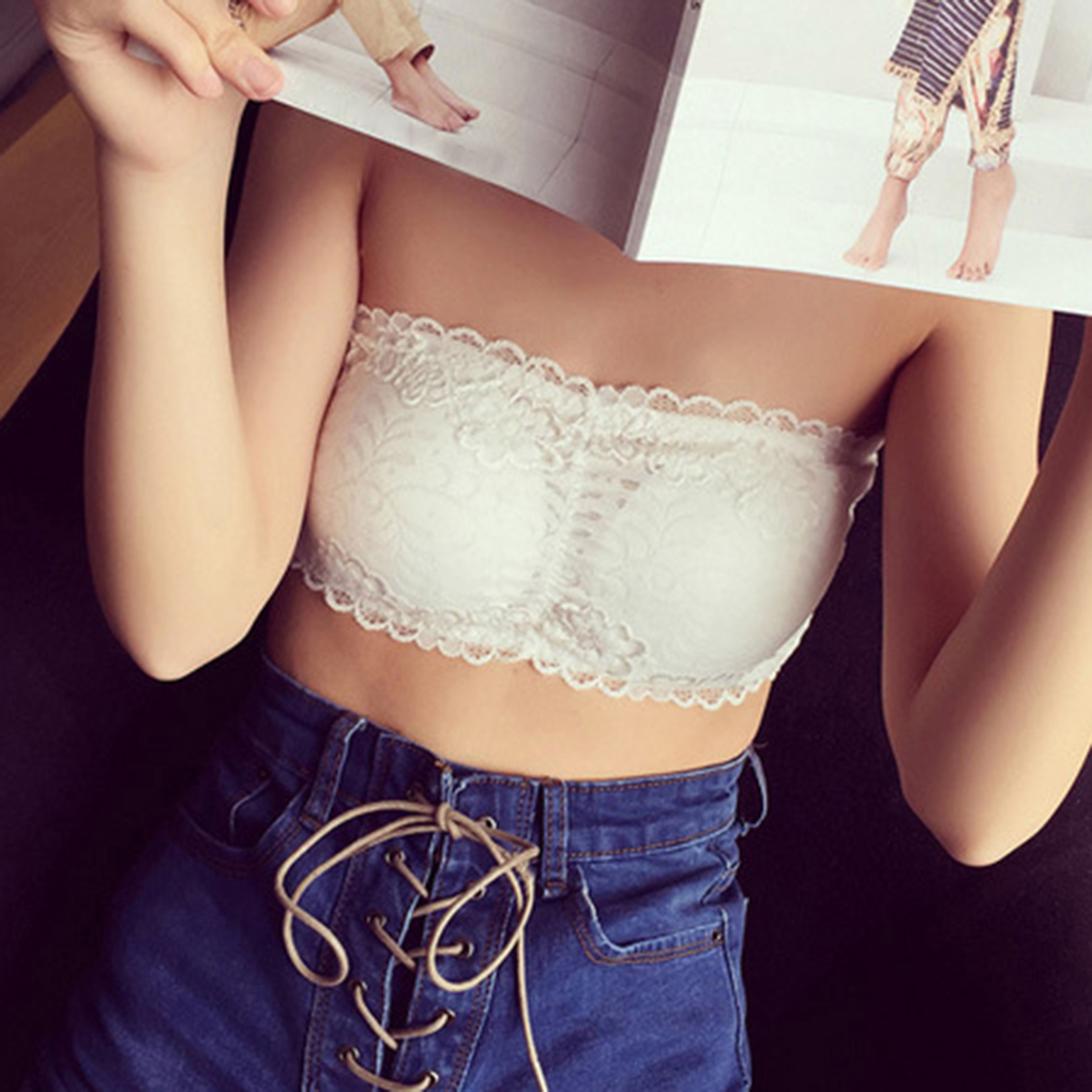Women Lace Sides Boob Tube Spandex Padded Strapless Crop Top Bra 2 Colors