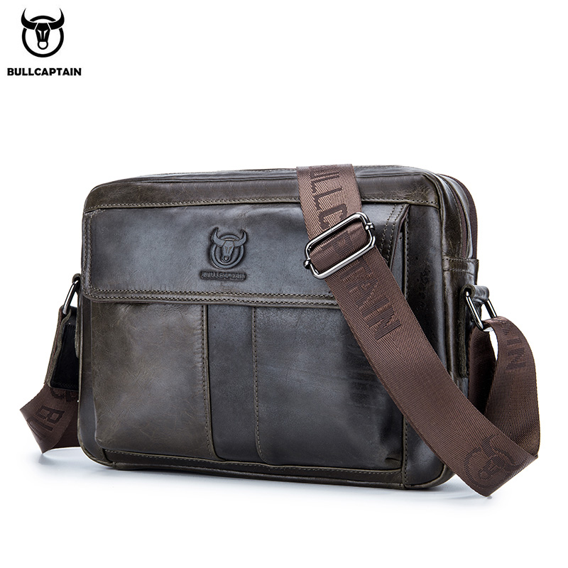 BULLCAPTAIN New 2020 Leather Shoulder Bags Men's Diagonal Bages Is A Business Briefcase Large Capacity Casual Handbag's
