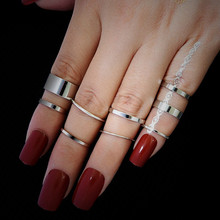 NJ 2019 Simple Silver 10 Piece/ Set Rings For Woman Ladies Popular Gift Christmas Present Jewelry Wholesale