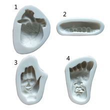 Halloween Funny Heart Hand Foot Teeth Silicone Resin Mold Jewelry Making Tools