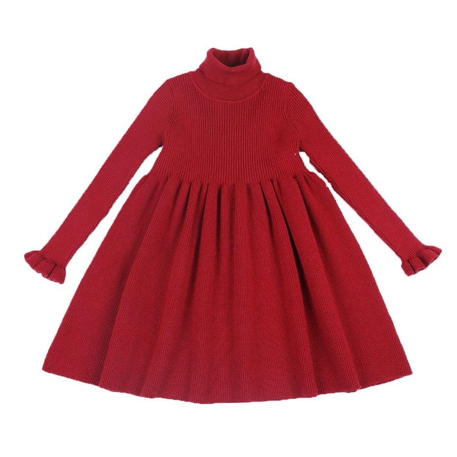 Image 5 - Girls Dress Solid Knitted Dress Girls Turtleneck Sweater Dress Girl Autumn Winter Kids Girls Clothes 6 8 10 12 14 YearDresses   -