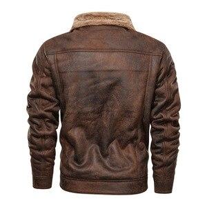 Image 3 - Куртка мужская с отложным воротником, осенне зимняя повседневная модная свободная кожаная куртка, 2020