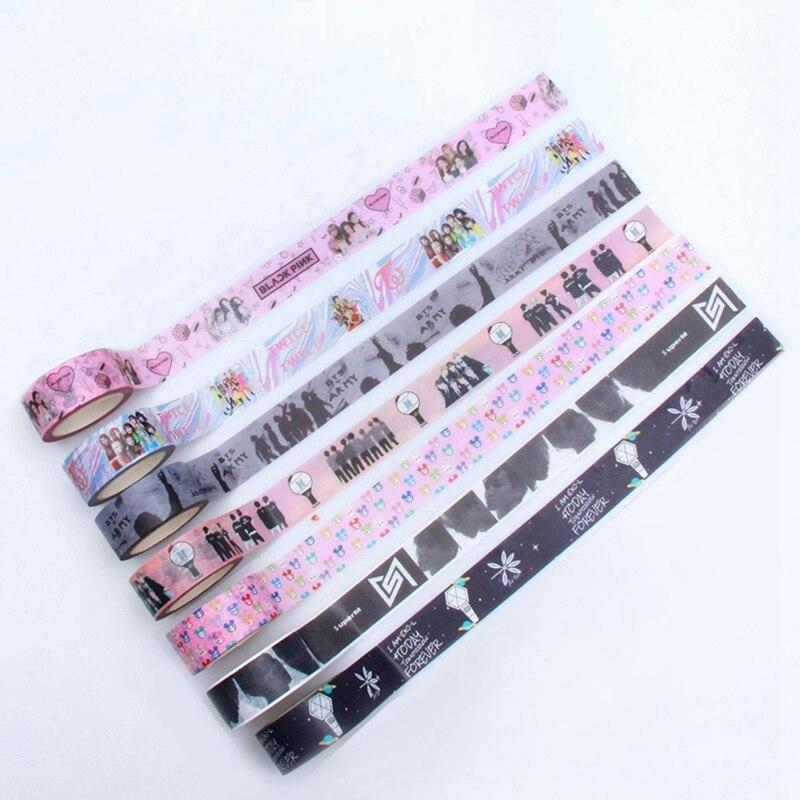 KPOP Paper Tape BLACKPINK Got7 TWICE EXO SUPER M Photo Sticker Paper Masking Scrapbook Notebook Sticker Cute Washi Tape