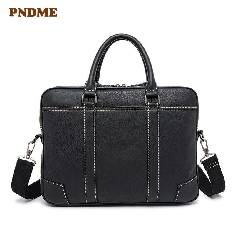 PNDME Business Casual Genuine Leather Black Men's Briefcase Large Capacity Handbag Real Cowhide Laptop Shoulder Messenger Bags