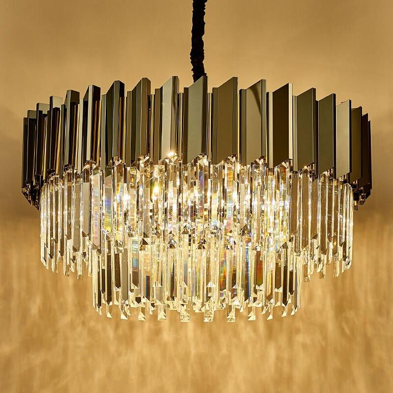 Современная роскошная хрустальная люстра для гостиной, черный круглый светодиодный светильник E14, люстра из нержавеющей стали