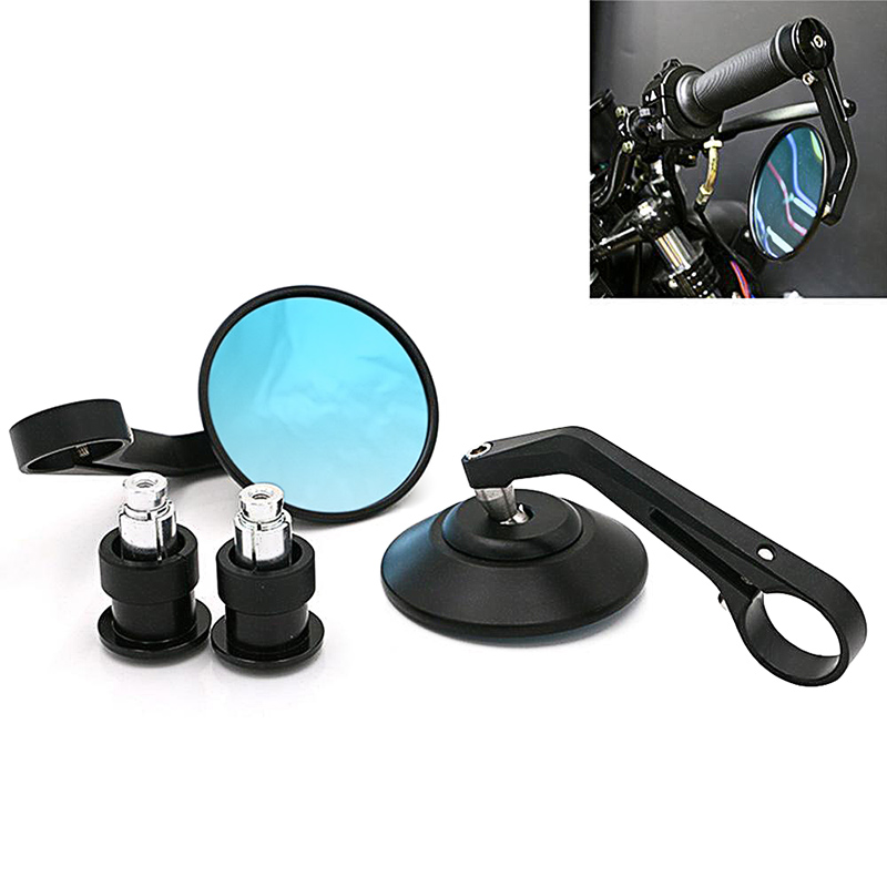 """DERI Motorcycle rear view mirror Black 7/8"""" Round CNC cafe racer parts motorcycle side mirror bar end motorbike espejos moto