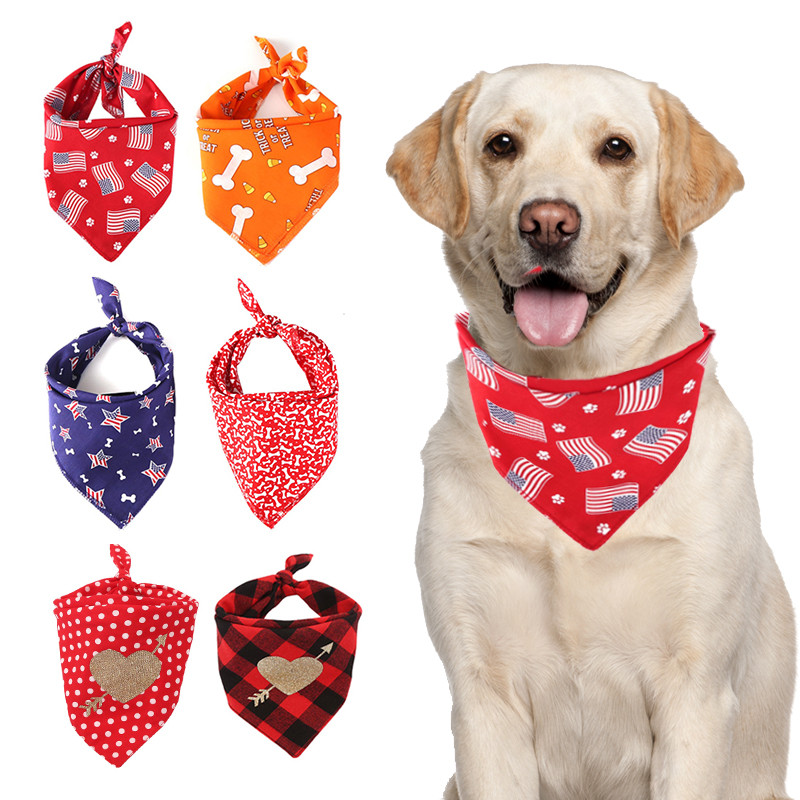 Dog Bandana Cotton Scarf Bib Flower Grooming Accessories Triangular Bandage Collar For Small Medium Large font
