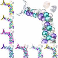 42 pièces sirène ballon arc ensemble sirène queue ballon petite sirène fête décorations fournitures de mariage fille anniversaire fête décor