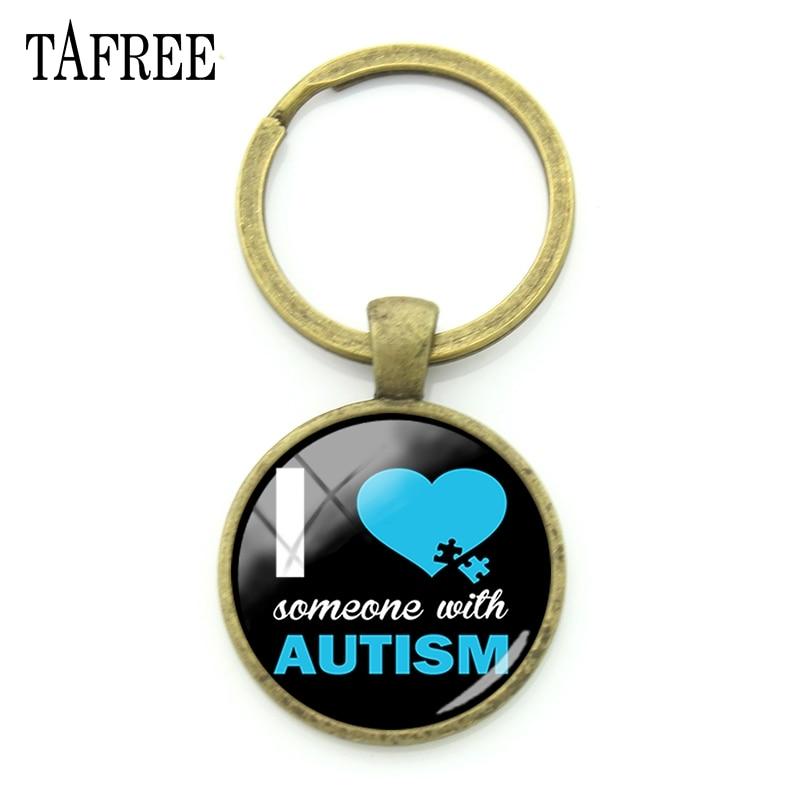 Tafree autismo consciência chaveiro jóias eu amo alguém com autismo bronze do vintage diy chaveiros ferramenta carro para o miúdo melhor presente ma74