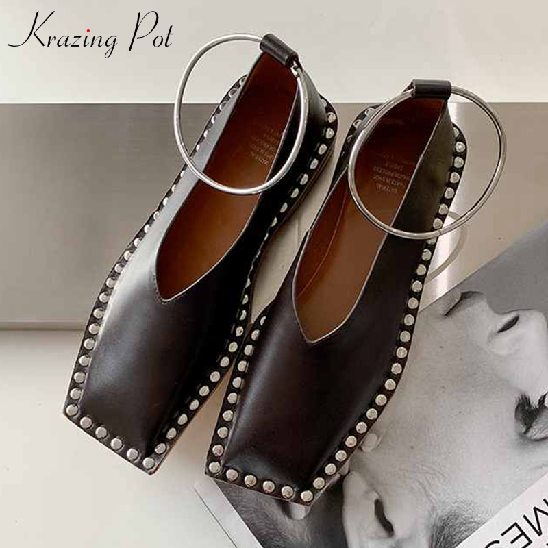 Krazing Pot High Street Fashion Genuine Leather Metal Rivets Square Toe Low Heels Women Popular Internet Star Modern Shoes L1p