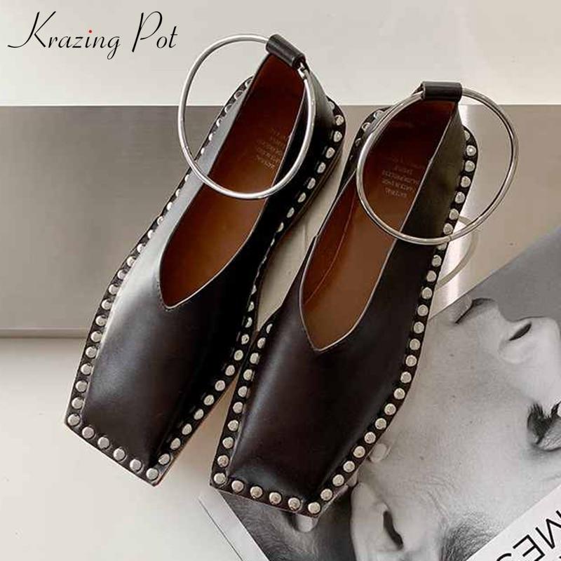 Krazing Pot High Street Fashion Genuine Leather Metal Rivets Square Toe Low Heels Women Popular Internet Star Modern Shoes L1p