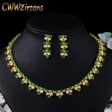 CWWZircons Elegant African Nigerian Yellow Gold Color Green Cubic Zirconia Women Wedding Necklace Bridal Dress Jewelry Sets T475