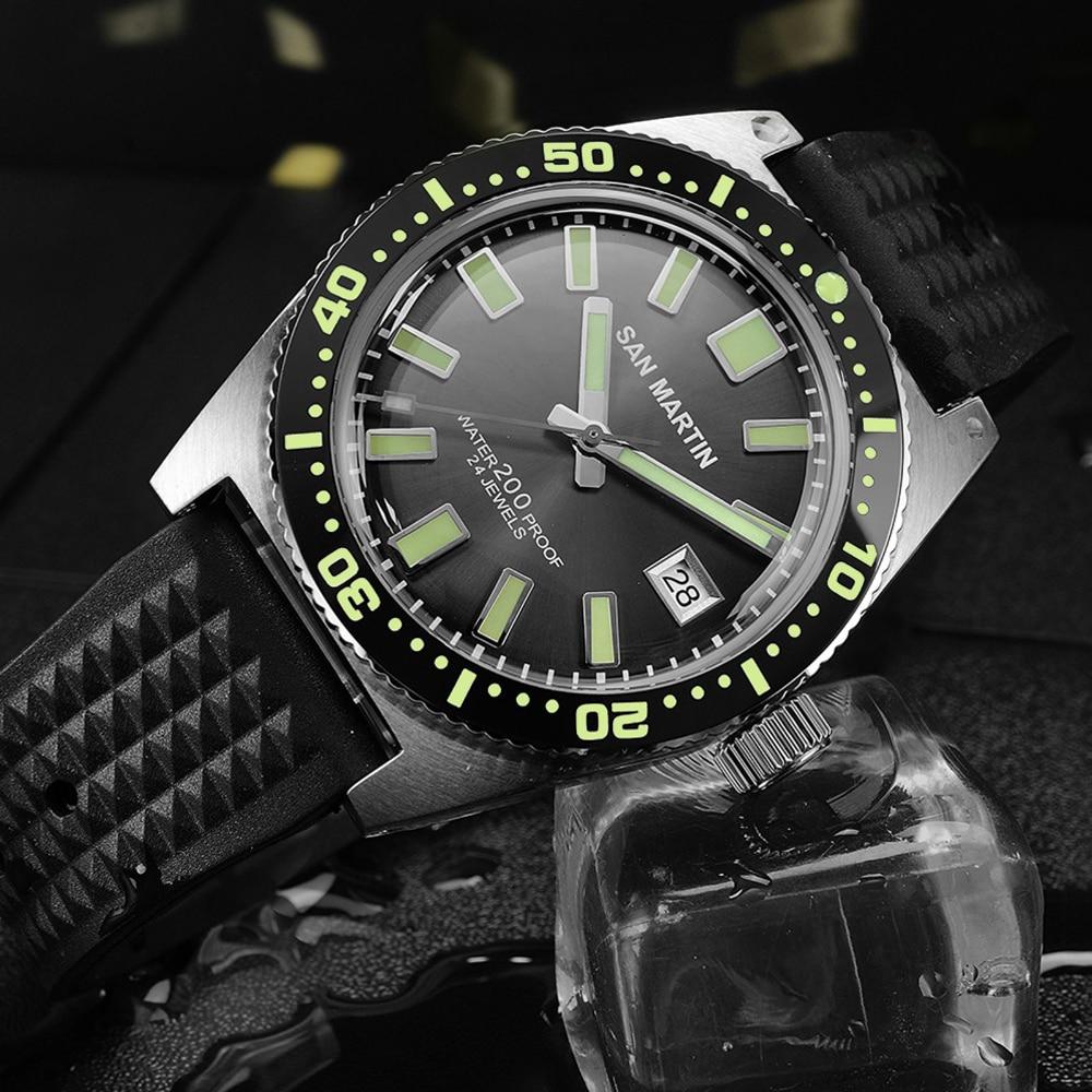 San Martin 62Mas Diver Automatic Mechanical Men Watch NH35 Stainless Steel Ceramic Bezel Sunray Dial Rubber Calendar Luminous - 2
