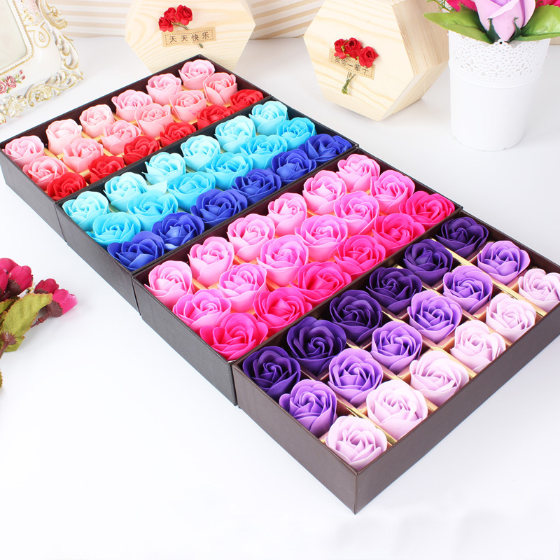 18pcs Best Gift for Girlfriend Boyfriend Souvenirs Rose Flower Soap Wedding Gifts for Guests Valentine's Day Gift Party Favors image