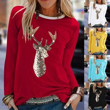T-shirt à manches longues pour Femme, col rond, imprimé noël, automne