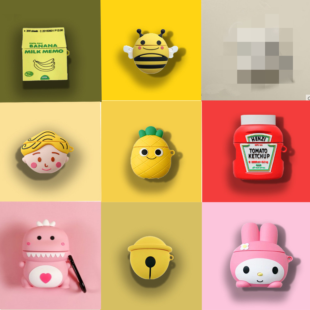 For <font><b>AirPods</b></font> <font><b>Case</b></font> 3D Cute Cartoon Super Mario Melody Dinosaur <font><b>Pikachu</b></font> Earphone <font><b>Case</b></font> For <font><b>Airpods</b></font> 1 2 Protect Cover with Pendant image