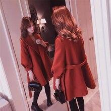 Plus size autumn winter womens 2019 new fashion fat mm bandage jacket loose warm foreign gas micro wear coat women