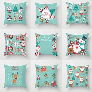 Blue Christmas Cushion Cover Merry Christmas Decorations For Home 2020 Xmas Decor Cristmas Ornament Noel Navidad Happy New Year