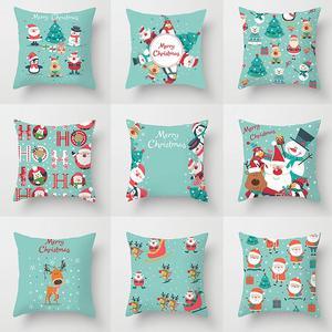 Blue Christmas Cushion Cover Merry Christmas Decorations For Home 2020 Xmas Decor Cristmas Ornament Noel Navidad Happy New Year