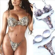 Women Swimsuit Swimwear Push-up Padded Triangle Bra Top Thong Bottom Bikini Set недорого