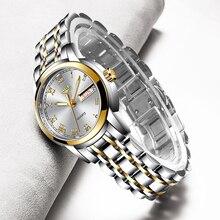 Lige senhoras de luxo relógio feminino à prova dwaterproof água rosa ouro aço cinta feminino relógios de pulso marca superior pulseira relógio relogio feminino