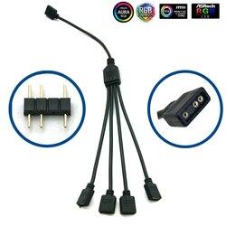 5-24В 3-контактный RGB-разъем, 1-1 2 3 4 5 3-контактный разветвитель провода, Удлинительный кабель для компьютера, вентилятора, материнской платы AURA ...