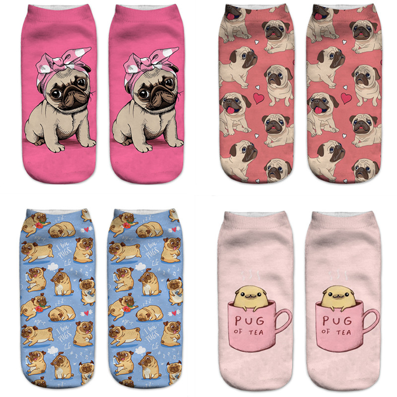 New 3D Printing Women Socks Fashion Unisex Socks Cat Meias Feminina Funny Low Ankle HOT Pug Socks