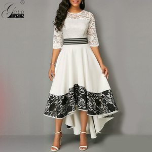 Image 2 - Gold Hands Autumn Women Dress  Elegant Sexy Hollow Out White Lace Long Party Dress Casual Plus Size Slim Ball Gown Maxi Dresses