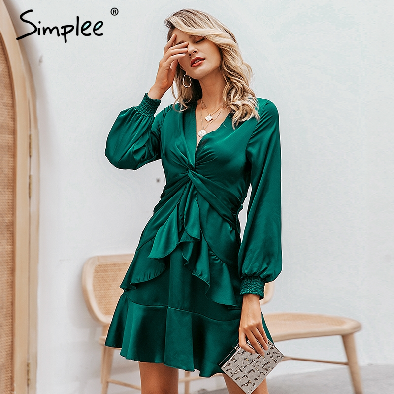 Simplee Sexy V-neck Mini Dress Elegant Puff Sleeve Chiffon Ruffled Green Dress A-line Knot Ladies Work Autumn Short Party Dress