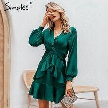 Simplee mini vestido Sexy con cuello en V elegante manga puff de chifón verde con volantes vestido de una línea de nudo de las señoras de trabajo de otoño corto vestido de fiesta