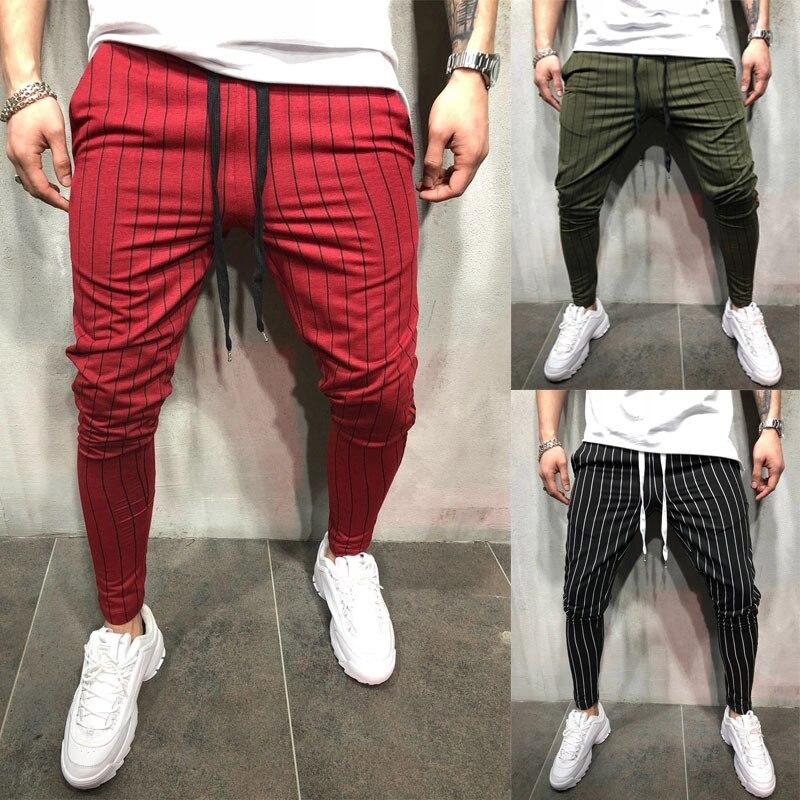 Leisure Sports Slimming Striped Tie Rope Jogging Men's Trousers Red Black Green Colors M-xxxl Sizes Joggers Print Men Pants