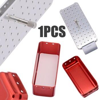 1 unidad de caja de desinfección Dental de aluminio, caja esterilizadora de Autoclave, soporte para limas Endo, 105x45x50mm, 72 orificios para rebabas
