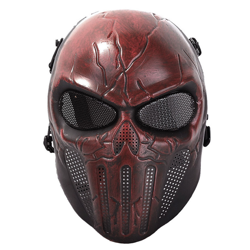 Wargame Tactical Mask Mesh Punisher Skull Full Face Ear-Protective Mask Military Army Airsoft Paintball Holloween Masks