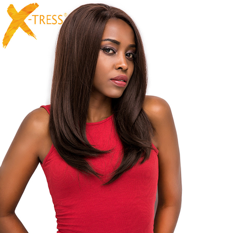 X-TRESS Synthetic Lace Front Wigs For Black Women Ombre Brown Color Long Soft Straight Wig Free Part 13x4 Lace Front Hairpiece