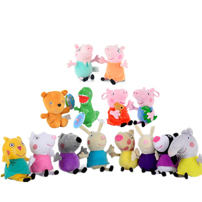 Peppa Pig Toys George Pepa Pig Family Friend19cm Stuffed Plush Toys Family Party Dolls Peppa Pig Birthday Decoration Gifts