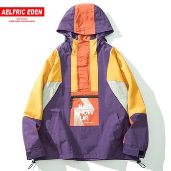 Aelfric Eden Color Clock Patchwork Mens Hooded Jackets 2019 Autumn Fashion Casual Streetwear Tops Harajuku Hip Hop Cargo Coats