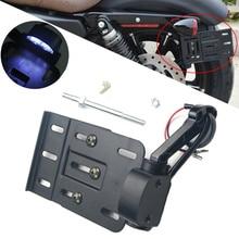 Мотоцикл складной боковое Крепление номерного знака Рамка крыло светодиодный задний фонарь для Harley Sportster XL 1200 883 48 2004- Dyna
