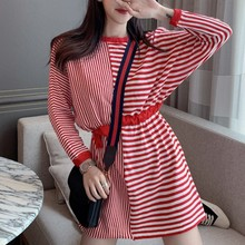 Knitting Mini Autumn Dress Women Casual Korean Stitching Stripe Tether Long Sleeve Loose Knitted Female