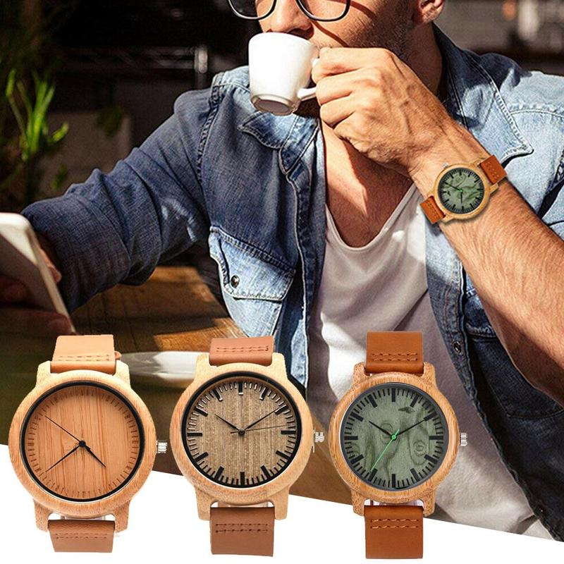 1 Pcs Creative New Bamboo Watch Leather Wooden Men's Watch Fashion All Natural Wooden Men's Watch