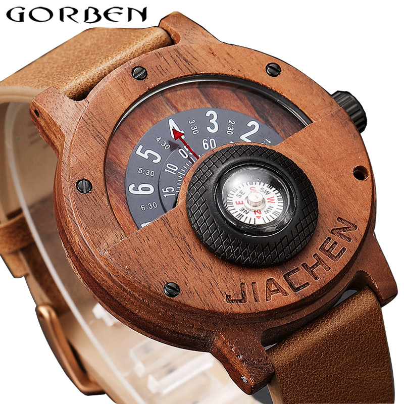 Unique Compass Turntable Number Design Mens Wooden Watch Men Brown Wood Leather Band Creative Natural Wood Wrist Watches Relogio analog watch