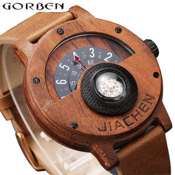Unique Compass Turntable Number Design Mens Wooden Watch Men Brown Wood Leather Band Creative Natural Wood Wrist Watches Relogio - DISCOUNT ITEM  45% OFF All Category