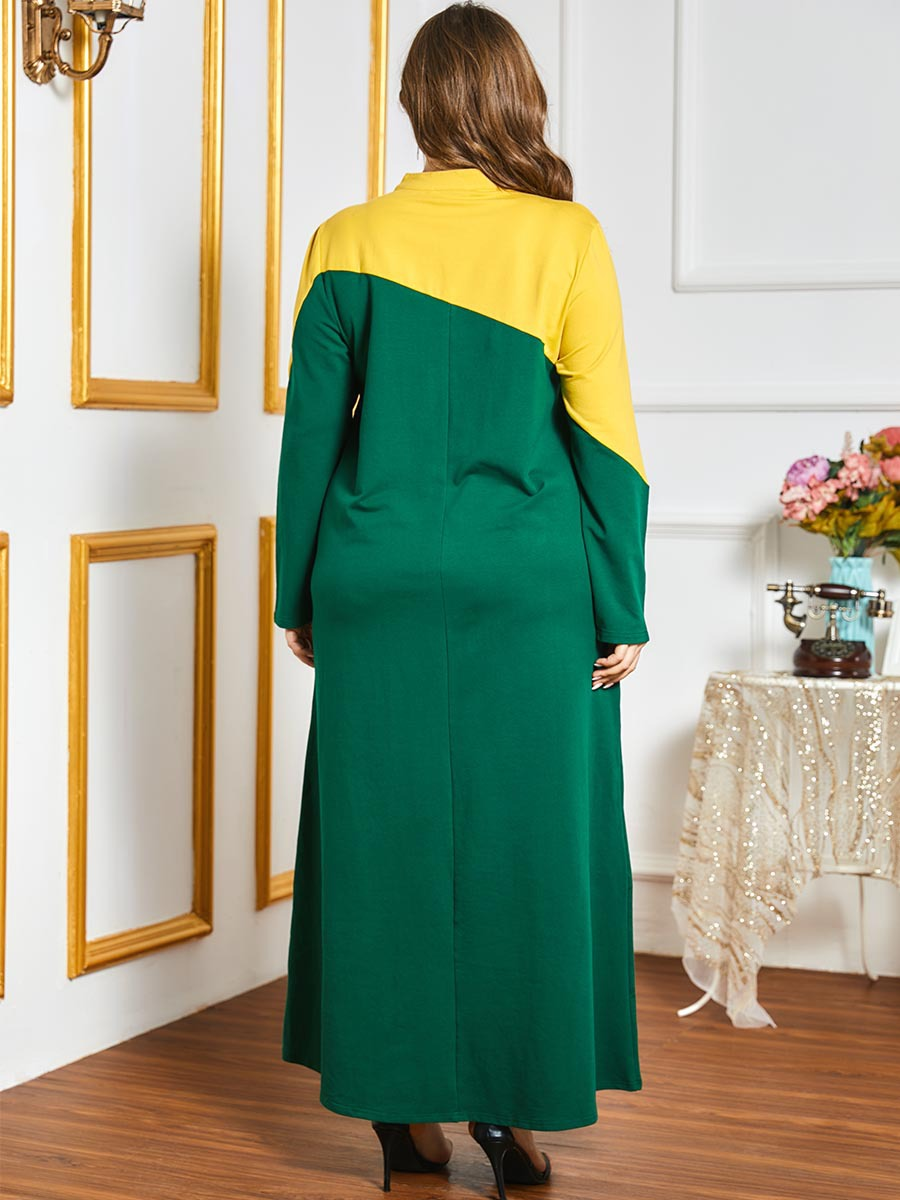 Islamic Clothing Zipper up Tracksuit Long Dress Women Muslim Middle East Striped Jogging Maxi Dress Sports