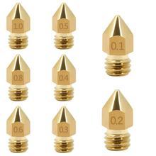 0,1-1,0 мм 3d принтер латунная сопло Mk8 экструдер головка для аэрографной печати для 3D-принтера надписи принадлежности для печати