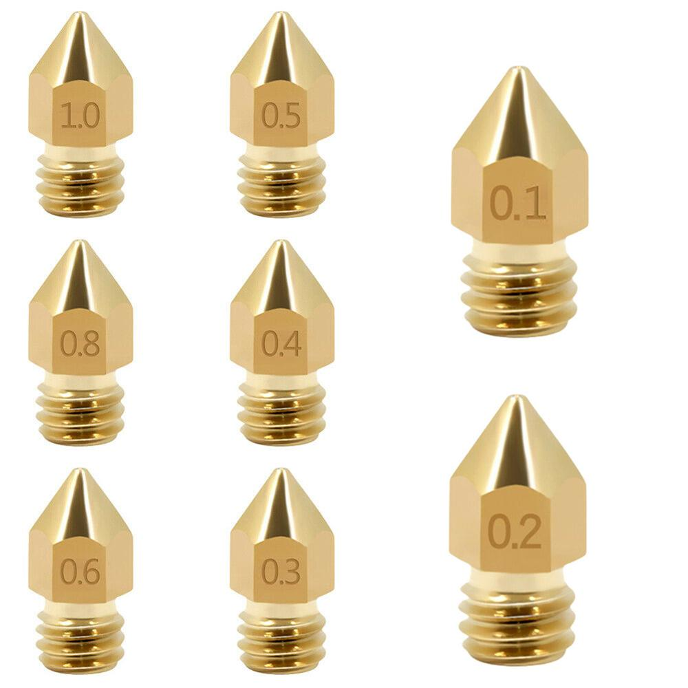 0.1-1.0mm 3D Printer Brass Nozzle Mk8 Extruder Nozzle Print Head For 3D Printer Lettering Printing Accessories