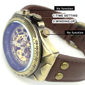 Image 4 - Mechanical Watches Steampunk Bronze Automatic Watch Men Vintage Transparent Skeleton Watch Man Clock montre homme Ship 24 Hours
