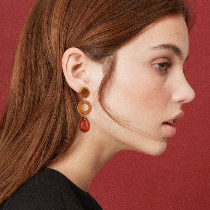 2019 Acrylic Resin Dangle Earring For Women Long Trendy Hollow Pendant New Exquisite Earrings 2 Color