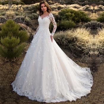 Traugel Scoop A Line Lace Wedding Dresses Applique Long Sleeve Backless Bride Dress Court Train Bridal Gown Plus Size