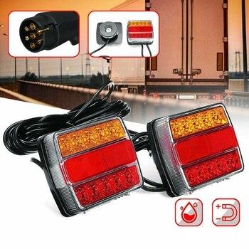 12V/24V Magnetic LED Trailer Light Highlight Taillights Trailer Tractor LED Taillights 7.5M Cable EU Plug
