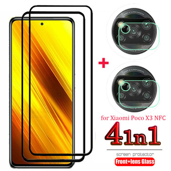 4 in 1 Tempered Glass For Xiaomi Poco X3 NFC Screen Protector & Camera Lens Cover Explosion proof Protectors For Poco X3 NFC