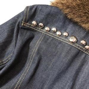 Image 5 - L160  Mink collar denim jacket rivet heavy industry winter highest version